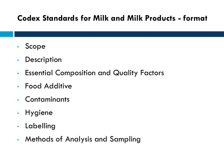 Codex Standards for Milk and Milk Products - format