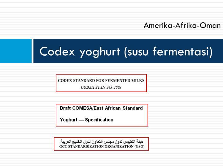 Codex yoghurt (susu fermentasi)