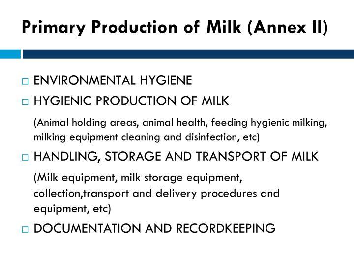 Primary Production of Milk (Annex II)