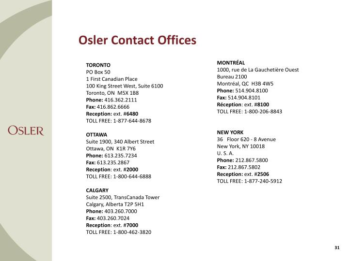 Osler Contact Offices