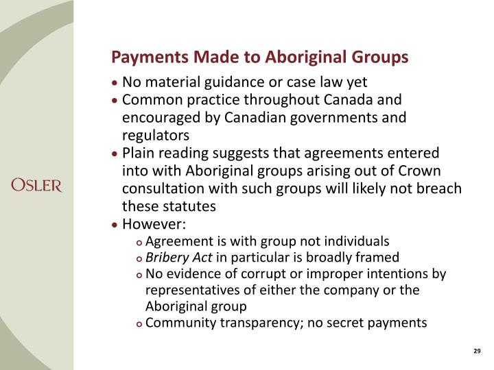 Payments Made to Aboriginal Groups