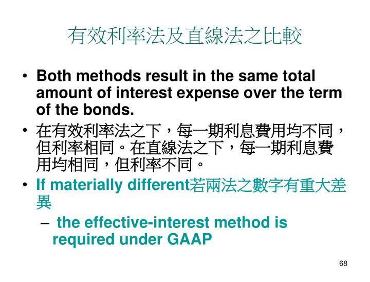 有效利率法及直線法之比較