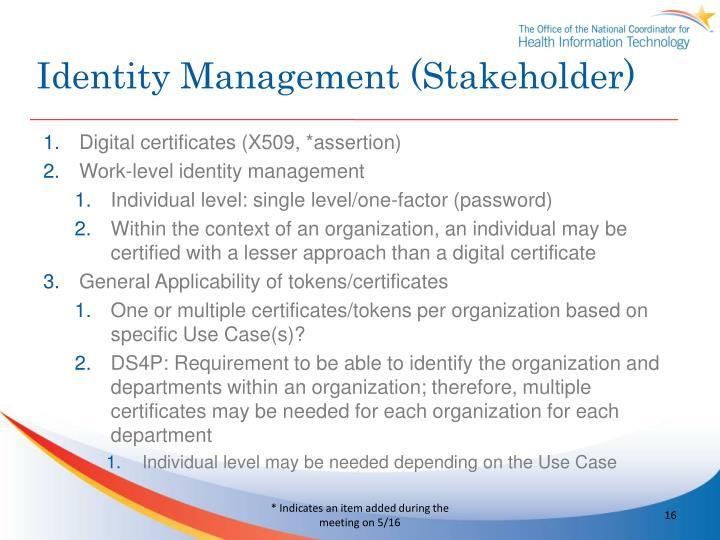 Identity Management (Stakeholder)