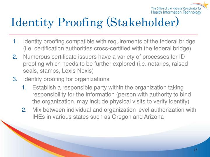 Identity Proofing (Stakeholder)