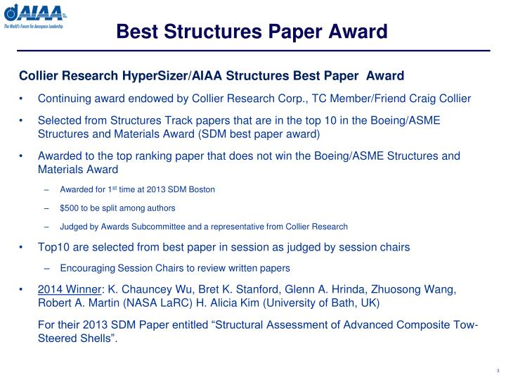 Best Structures Paper Award