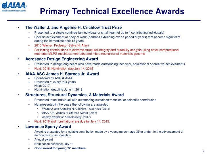 Primary Technical Excellence Awards