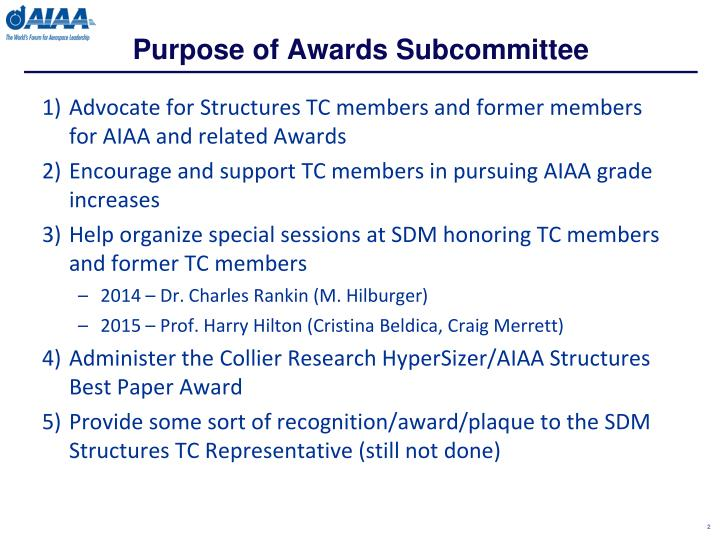 Purpose of awards subcommittee