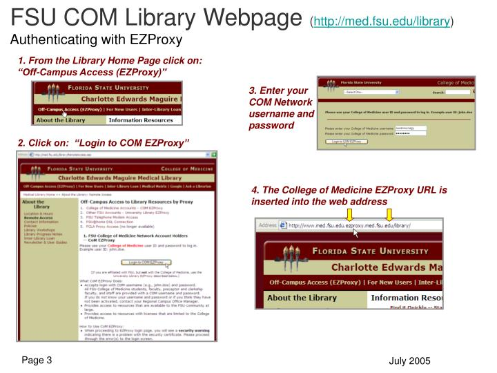 FSU COM Library Webpage