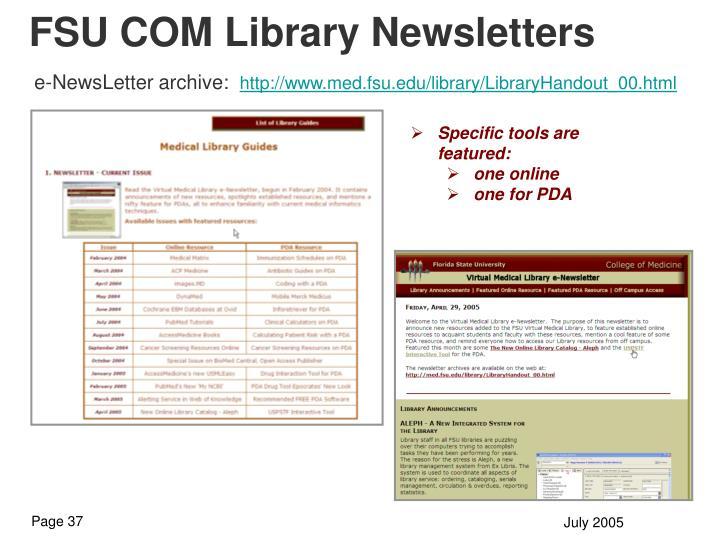 FSU COM Library Newsletters