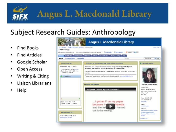 Subject Research Guides: Anthropology