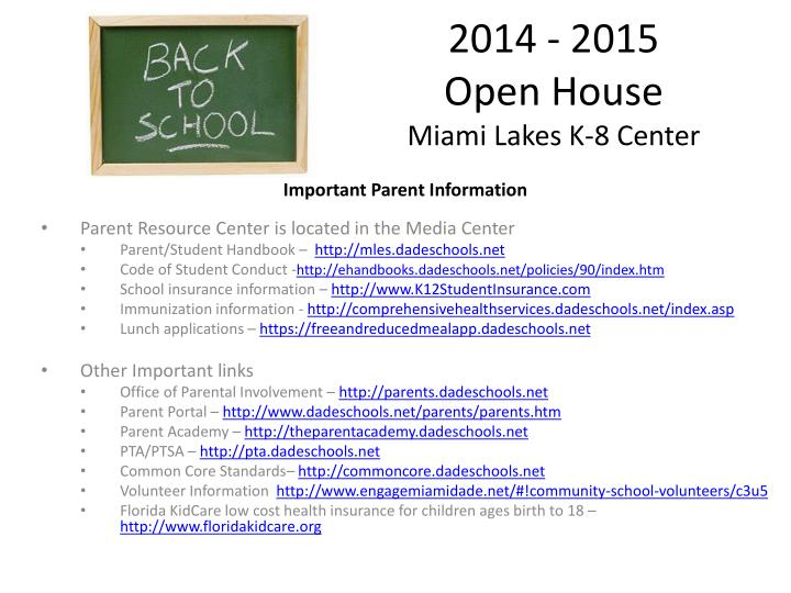 2014 2015 open house miami lakes k 8 center