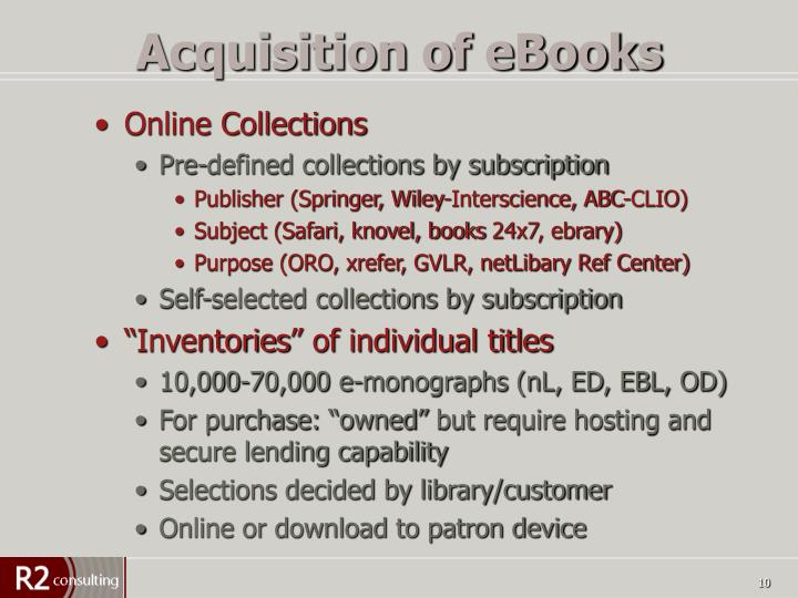 Acquisition of eBooks