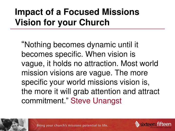 Impact of a Focused Missions Vision for your Church