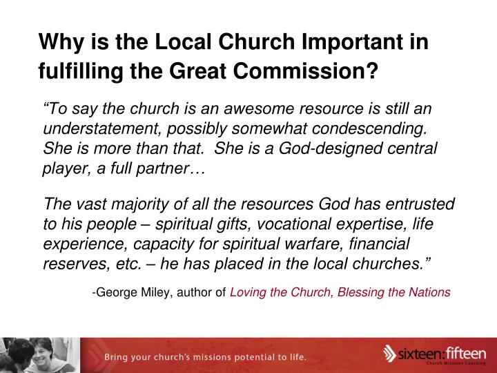 Why is the Local Church Important in fulfilling the Great Commission?