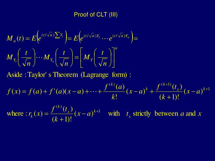 Proof of CLT (III)