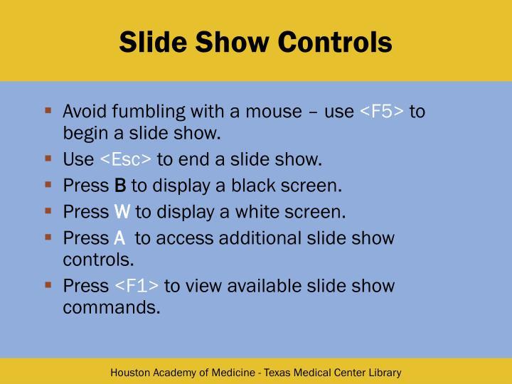 Slide Show Controls