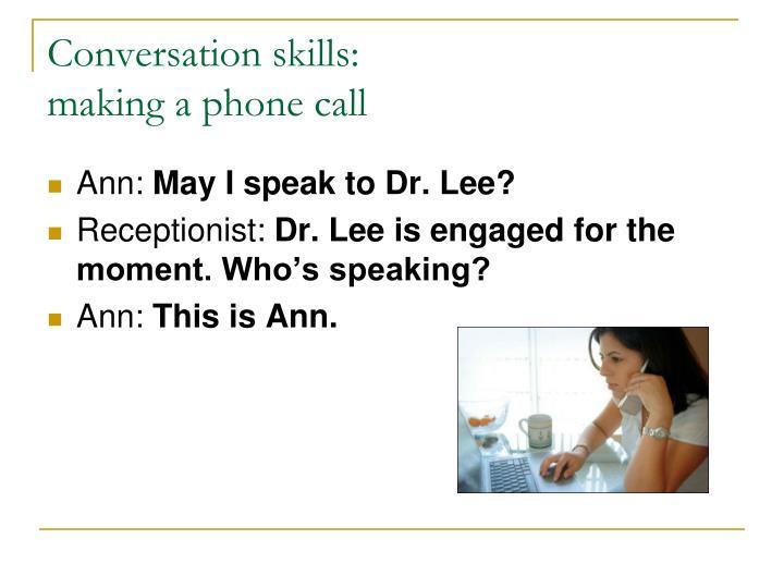 Conversation skills:
