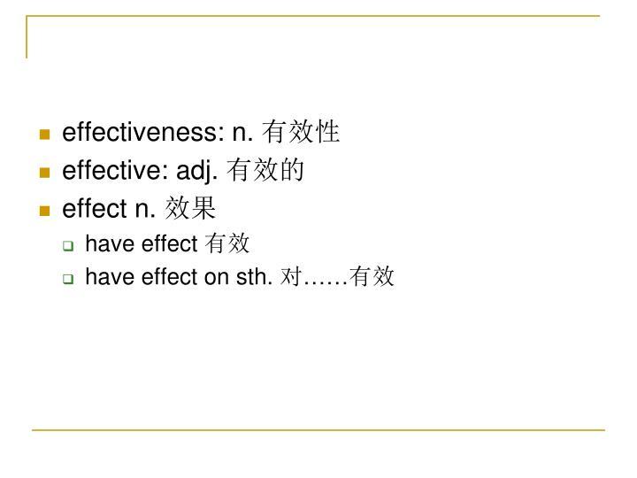 effectiveness: n.