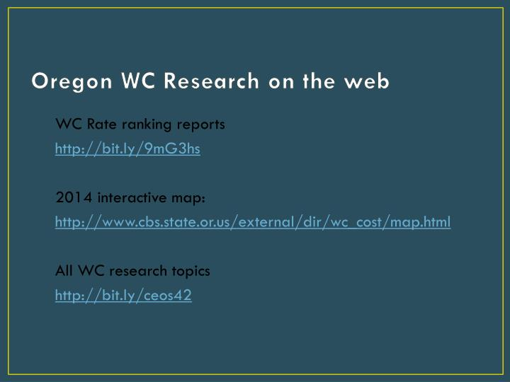 Oregon WC Research on the web