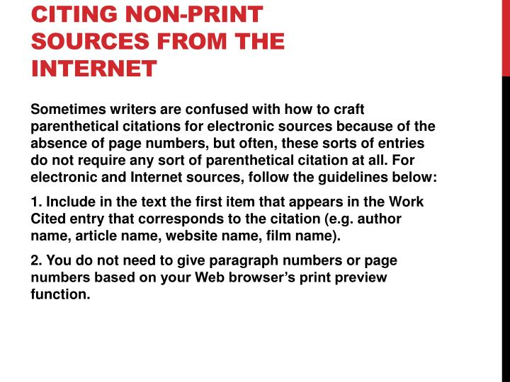 Citing non-print sources from the internet