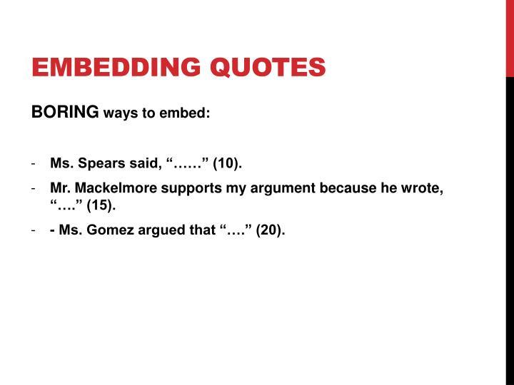 Embedding quotes