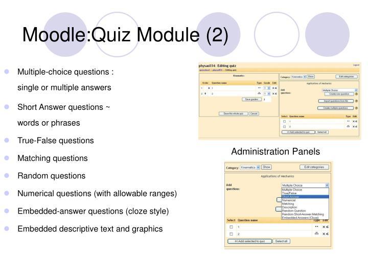 Moodle:Quiz Module (2)