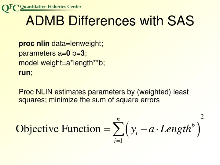 ADMB Differences with SAS