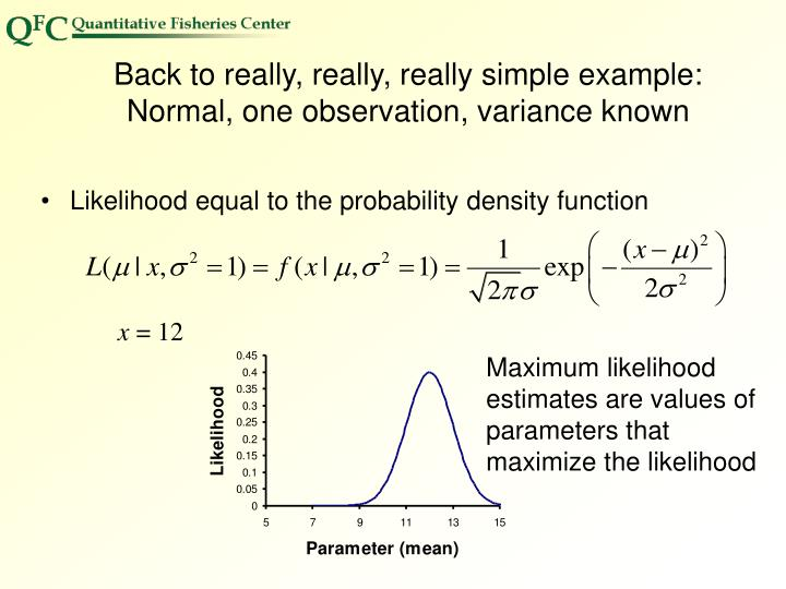 Back to really, really, really simple example:  Normal, one observation, variance known