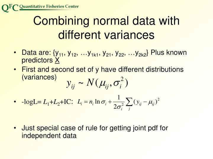 Combining normal data with different variances