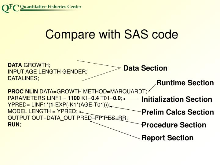 Compare with SAS code