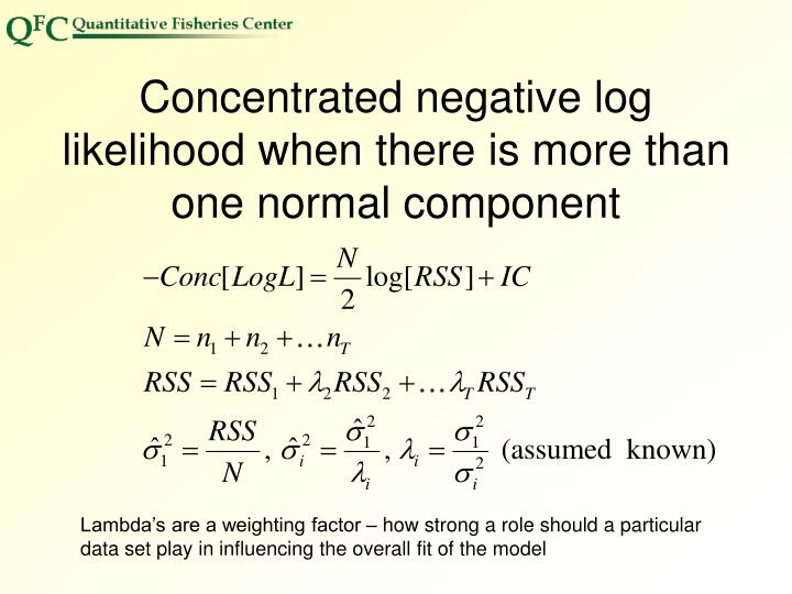 Concentrated negative log likelihood when there is more than one normal component