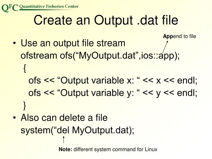 Create an Output .dat file