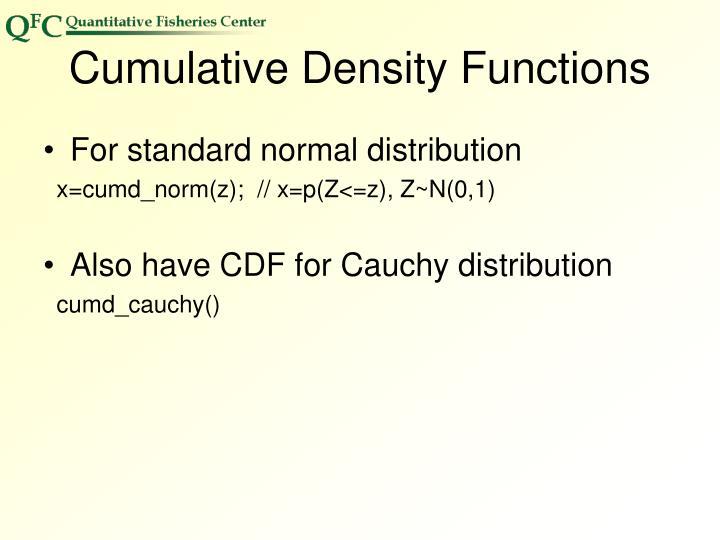 Cumulative Density Functions