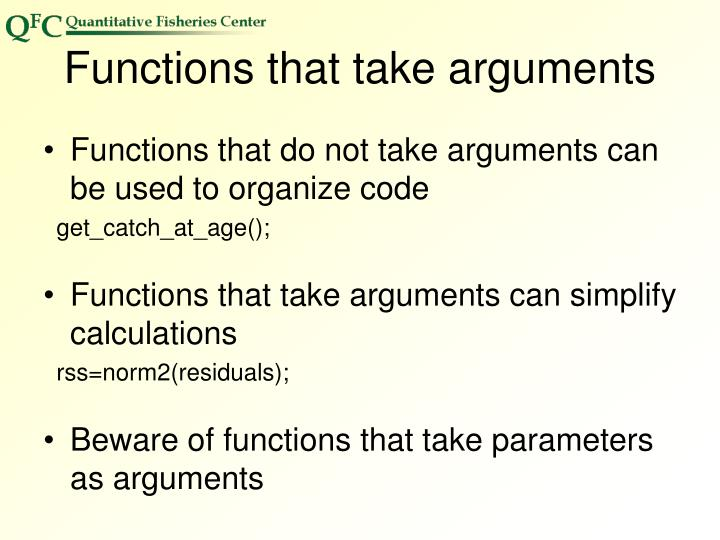 Functions that take arguments
