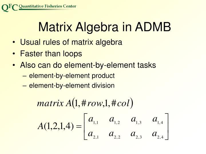 Matrix Algebra in ADMB