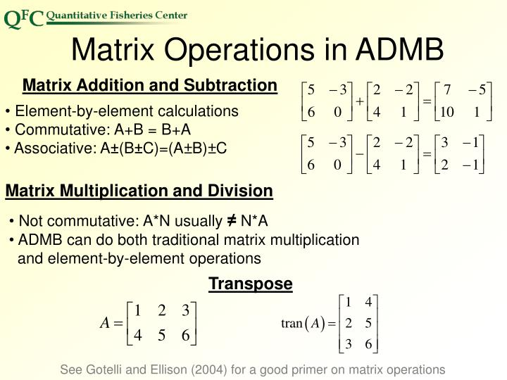 Matrix Operations in ADMB