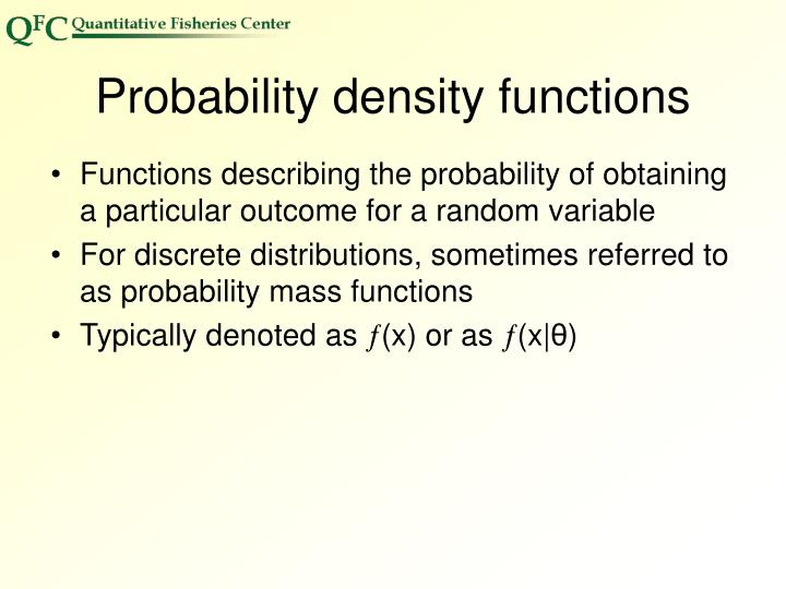 Probability density functions