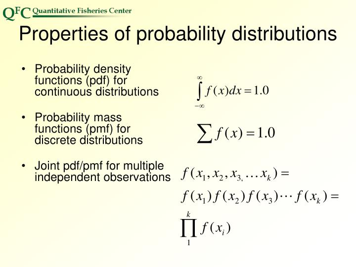 Properties of probability distributions