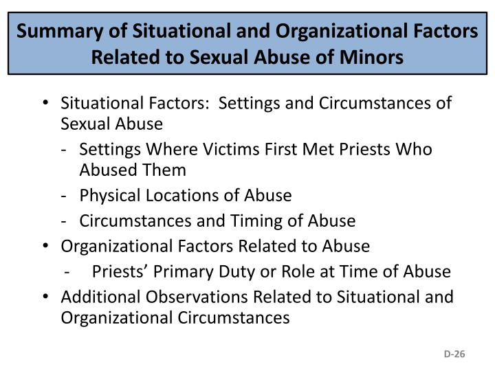 Summary of Situational and Organizational Factors Related to Sexual Abuse of Minors