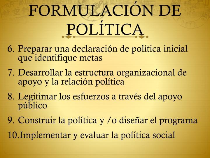 FORMULACI
