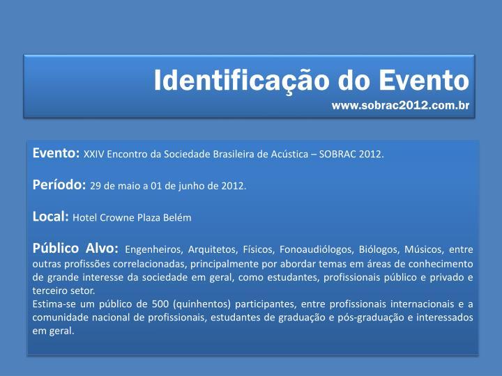 Identificação do Evento