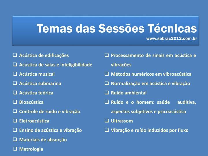 Temas das Sessões Técnicas