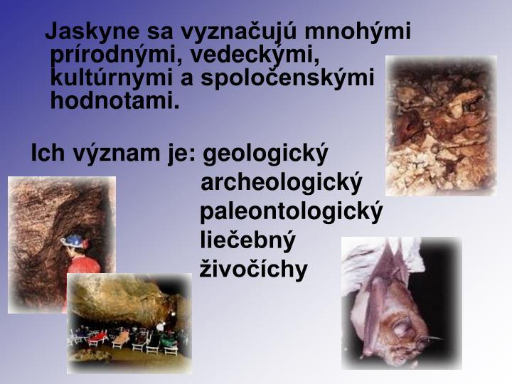 Jaskyne sa vyznačujú mnohými prírodnými, vedeckými, kultúrnymi a spoločenskými hodnotami.