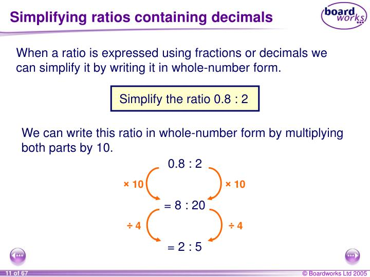 Simplifying ratios containing decimals