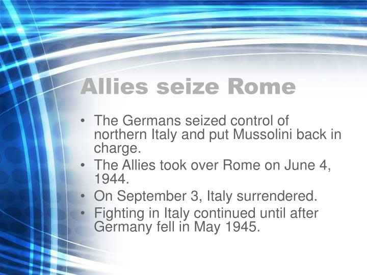 Allies seize Rome