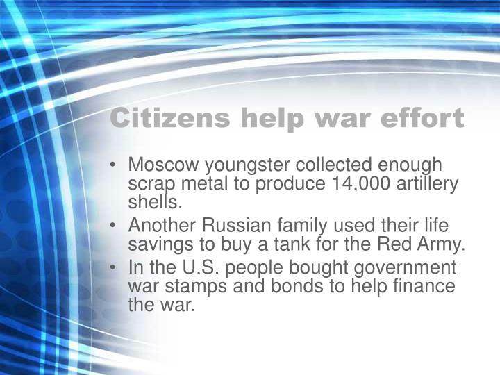 Citizens help war effort