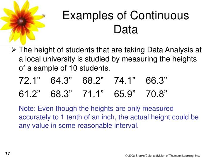 Examples of Continuous Data