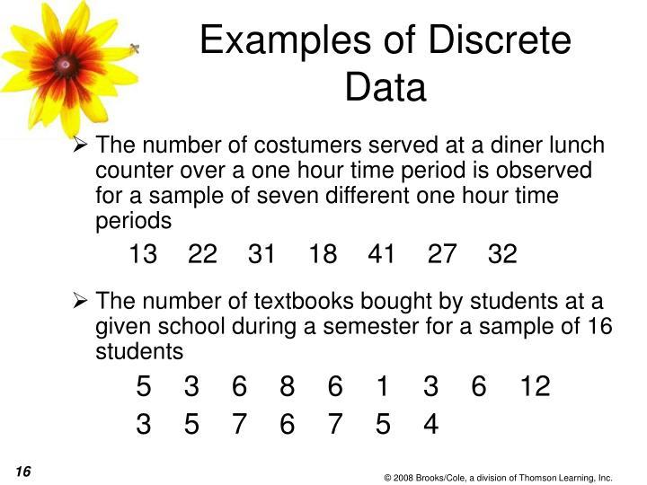 Examples of Discrete Data