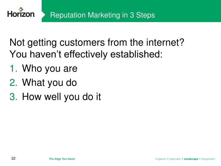 Reputation Marketing in 3 Steps