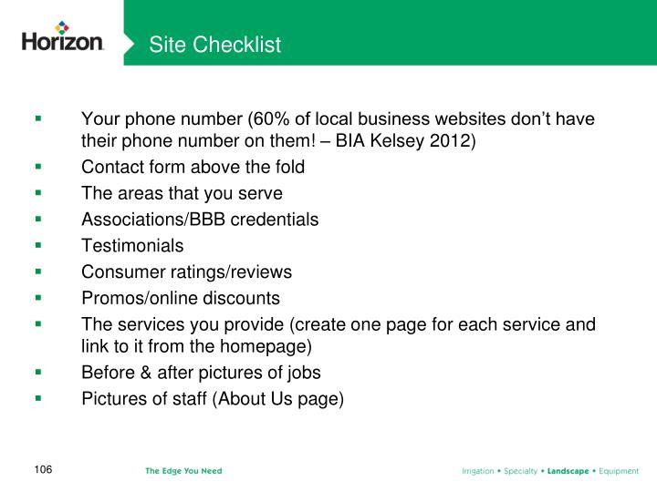 Site Checklist